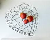 Vintage Wire Heart Basket - Rustic Primitive Hearts