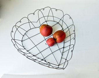 Vintage Wire Heart Basket - Rustic Primitive Hearts