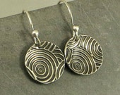 Silver Disc  Earrings,Fine Silver Earrings, Art Deco Circle Earrings , Petite Earrings, Rustic Jewelry Gifts for Her, PMC Jewelry