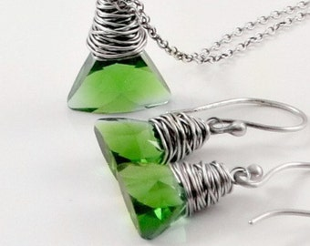 Sale Swarovski Crystal Jewelry Set Crystal Earrings Crystal Necklace