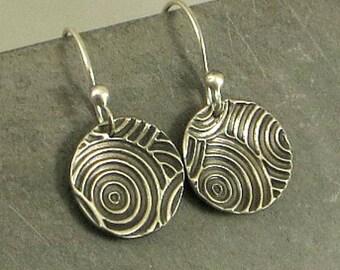 Silver Disc  Earrings,Fine Silver Earrings, Art Deco Earrings , Petite Earrings, Gifts Under 30 Gifts for Her, PMC Jewelry