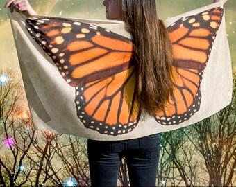 Monarch Butterfly Wing Shawl Wrap, Handmade Scarf, Orange Butterfly, Danaus Plexippus