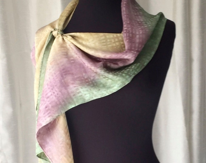 Golden Heather Hand Painted Jacquard Silk Scarf, One of a Kind, Designer Original Made in USA