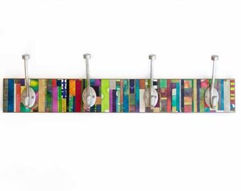 Wall Coat Rack, Hanger, Handmade Paper, Vertical Colorful Stripes, Wall Decor, Mosaic Abstract Art, Clothes Hanger, Batik Design