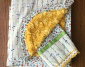 Retro Cream Ribbon and Flower Blanket and Burp Cloth Set...Ready to Ship