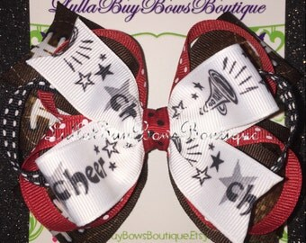 Large Layered Red, Black, and White Football Cheer Bow