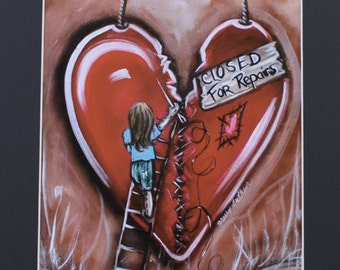 Little Girl Sewing Up Broken Heart Art Print Black Matted To 11x14 Red Heart Being Repaired