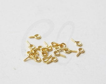 30pcs Bright Gold Tone Base Metal Base Mini Loop Screw Eye Pin - Eye Hook Screw Bail Peg (3195C-N-320D)