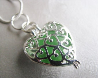 Green Sea Glass Heart Locket - Heart Pendant Necklace