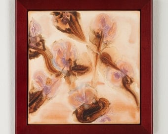 Tile Wall Art Abstract Orchids Framed Wall Hanging