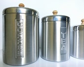 Vintage MCM Mid Century Modern Aluminum Canister Set Italy