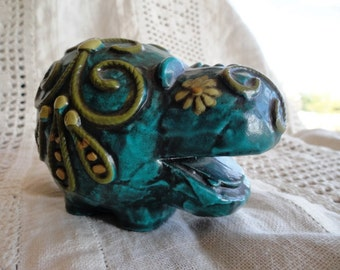 Mod Hippopotamus, Deep Teal Green, Vintage Paperweight