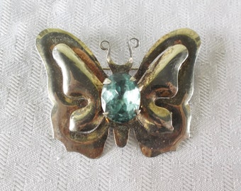 1940s Vintage Large Sterling Silver Butterfly Brooch with Aqua Blue Stone
