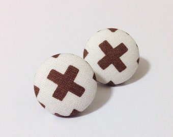 Brown and White Cross Fabric Button Earrings