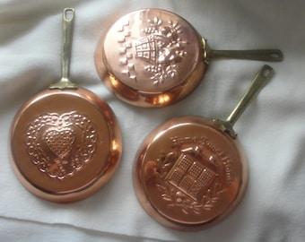 Vintage, Copper, Frying Pans, Wall Decor, Kitchen, Three, Set