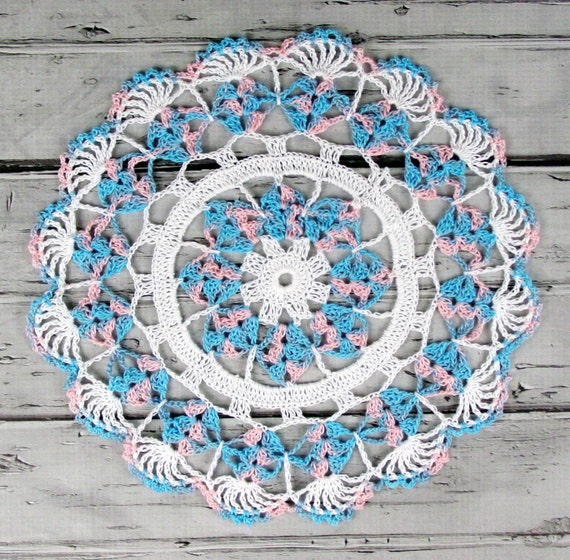 Lovely Crocheted Pink Blue Variegated Table Topper Doily - 10 1/2""
