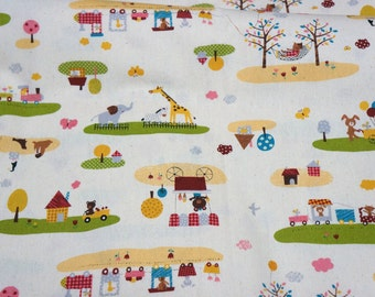 Zoo print  print japanese fabric 50 cm by 106 cm or 19.b by 42 inches   nc34