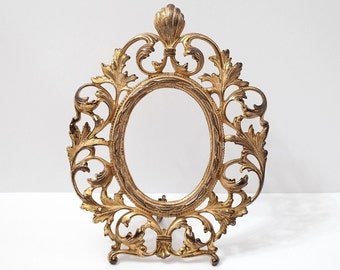 Antique French Ormolu Ornate Oval Picture Frame