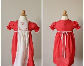1970s Smocked Dot Dress >>> Size 2t