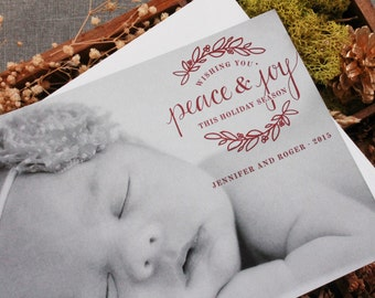 Red Peace and Joy - Baby Photo card, Family Photo Christmas Card, Holiday Photo Card, Christmas Photo Card, Baby Photo Christmas Card