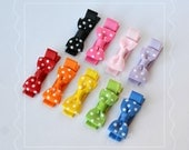 Set of 9 Polka Dot Bow Tie Tiny Hair Bow Clips - awesome baby shower and first birthday gift - cute clippies - grosgrain hairbows hair bows