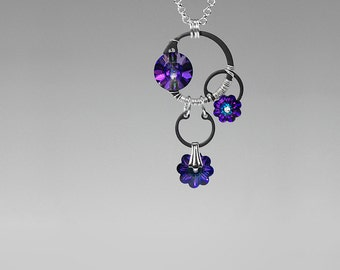 Heliotrope Swarovski Crystal Industrial Necklace, Statement Pendant, Swarovski Crystal Jewelry, Wire Wrapped, Cold Fusion v11