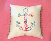 New Made To Order Anchor Pillow made with Lilly Pulitzer Lets Cha Cha fabric