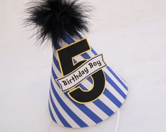 Blue Stripe and Black Boys Party Hat - Minions Birthday Party