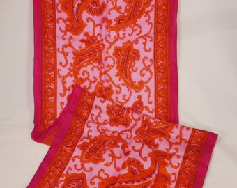 Vintage SILK long Scarf  1970s silk pink  orange black paisley 44 x 14 inches great condition