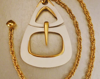 large TRIFARI PENDANT ENAMEL White Goldtone Buckle design chain 28in pendant app 3 x3 in Vintage signed