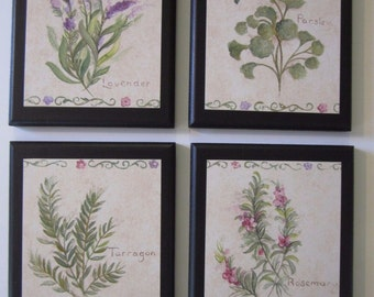Herbs 4 Kitchen Wall Decor Plaques country style signs lavendar parsley tarragon rosemary
