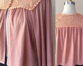 SALE Sexy Bohemian Goddess Blouse,Boho Shirt, Vintage 60's/70's, Soft Rose,Med
