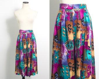 VTG 80's Bright Pink & Green Geo Culottes (Medium) Wide Flowy Geometric Southwestern Print Shorts Vintage