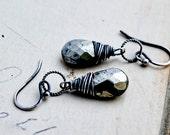 Pyrite Earrings, Dangle Earrings, Fools Gold, Slate Gray, Wire Wrapped, Pyrite Jewelry, Drop Earrings, Sterling Silver, PoleStar