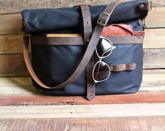Waxed Canvas Messenger Bag, Waxed Canvas Tote, Large Laptop Bag, large messenger bag, Crossbody messenger bag,  Rucksack, free shipping