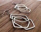 Sterling Silver Multi Pentagon Earrings- E401SS- handmade wire jewelry by cristysjewelry on etsy