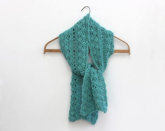Woman's Lace Scarf, Warm Winter Scarf, Hand Crochet Scarf, Custom Scarf, Vegan Winter Scarf