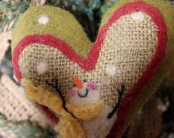 Snowman Heart Ornament Needle Felted Prim Snowman Heart Felted on Burlap #1054