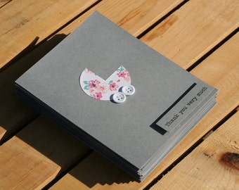 Baby Shower Thank You Cards - Baby Girl Thank You Cards - Grey Thank You Cards - Thank you Cards - Pink Floral Thank You Cards - 25