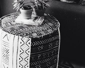 African mud cloth ottoman