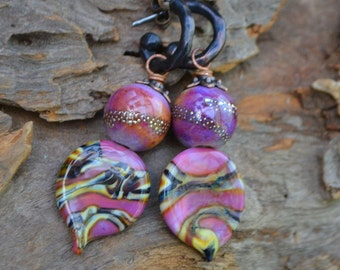 Mauve Lampwork Glass Headpin and Bead earrings