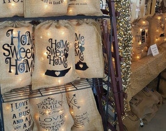 Burlap Bag, Burlap Bag with Lights, Burlap Bag Lights, Burlap Lighting, Prim Lighting, Rustic Lighting, Burlap Monogram, State Silhouette