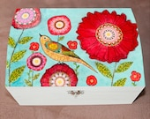 Red Flowers Large Jewelry Box, Bird Jewelry Box, Make Up Box, Cosmetics Storage, Large Wooden Jewelry Box, Make Up Storage, Make Up Case