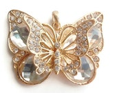 1 Pendant, Large Butterfly, Jewelry Making Supply, Christmas Gift, Crystal colored Rhinestones & Gold Color alloy Metal