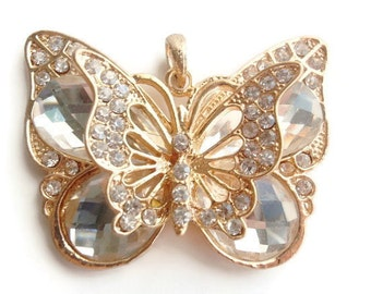 1 Pendant and Bail set, Large Butterfly, Jewelry Making Supply, Christmas Gift, Crystal colored Rhinestones & Gold Color alloy Metal