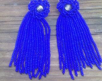 Cobalt Blue Handbeaded Shoulderduster Flapper Clipon Earrings