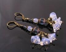 Czech Flower Earrings, Cascading Flower Earrings, Flower Cluster Earrings, Czech Bead Earrings, Beaded Earrings, Flower Jewelry