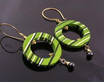 Retro Earrings, Green Hoop Earrings, Wire Wrapped Earrings with Black Cubic Zirconia, Large Acrylic Earrings, Green and Gold
