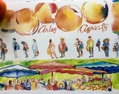 Apricots of Provence watercolor print