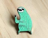 Sloth enamel pin - Party animal pin - mint party sloth lapel pin brooch